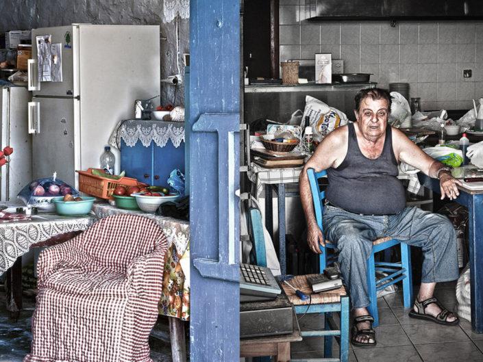La vita nelle isole Greche. Interni popolari.