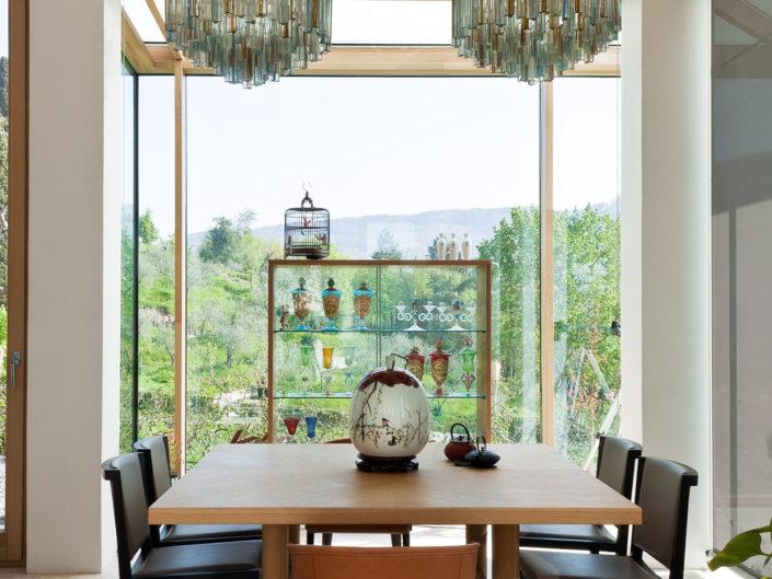 Lampadari di murano per un pranzo con vista.